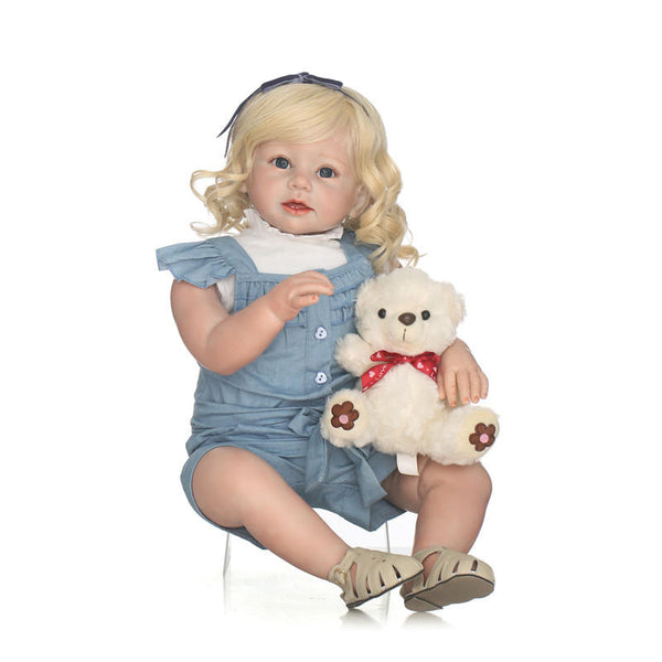 NPK 28inch Reborn Toddler Girl Dolls Soft Silicone Dolls Children Gift Reborn Bonecas