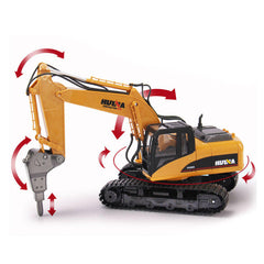 HuiNa 560 2.4G 1/12 16 Channels Metal RC Excavator Broken Disassemble Charging RC Car Model Toys