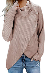 100% Money Back Guarantee, USA Imported Product Polyester KILIG Womens Casual Knitted Wrap Cowl Neck Long Sleeve Button Pullover Lightweight Sweaters Shirt