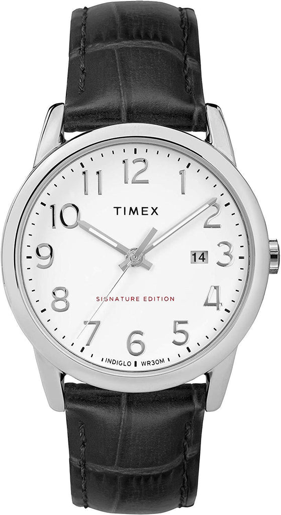 Timex Men's Easy Reader Leather Strap 38mm Watch Adjustable brown 20mm genuine leather strap, USA Imported Product