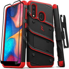 New High Quality ZIZO Bolt Series Samsung Galaxy A20 Case | Heavy-Duty Military-Grade Drop Protection w/Kickstand Included Belt Clip Holster Tempered Glass Lanyard Galaxy A50 - Black USA Imported Product