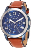 Fossil Men's Grant Stainless Steel and Leather Chronograph Quartz Watch Genuine brown leather band with buckle closure USA Imported Product