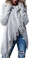 Cotton Fabric sweaters for women Fantastic Zone Women's Long Sleeve Speckled Fringe Open Front Cardigan Sweaters for Women USA Imported Product