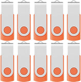 High Quality Enfain 32GB USB 2.0 Flash Drive 10 Pack Thumb Drives Bulk Memory Stick Swivel Jump Drives, with 12 Labels (32 GB 10 Pack, Orange) USA Imported Product - EY Shopping