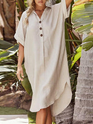 3/4 Sleeve Lapel Button Short Sleeve Irregular Hem Solid Color Shirt Dress - EY Shopping