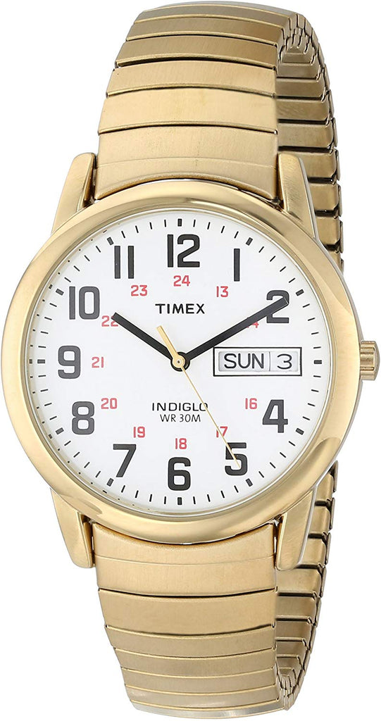Timex Men's Easy Reader Day-Date Expansion Band Watch Easy-to-Read White Dial with Full Arabic Numerals USA Imported Product