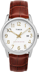 Adjustable brown 20mm genuine leather strap Timex Men's Easy Reader Leather Strap 38mm Watch USA Imported Product - EY Shopping