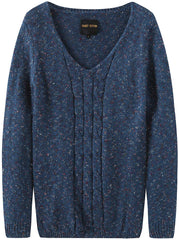 Fancy Stitch Women's Cable Knitted V-Neck Sweater Top women long sleeve sweater