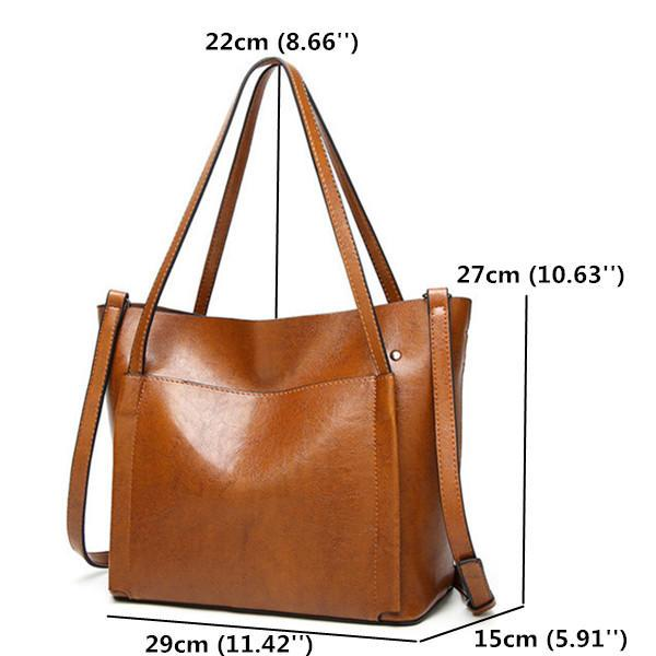 Women Oil Leather Tote Handbags Vintage Shoulder Bags Capacity Crossbody Bags - EY Shopping