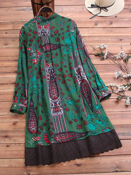 Ethnic Embroidered Print Patchwork Long Sleeve Vintage Dress - EY Shopping