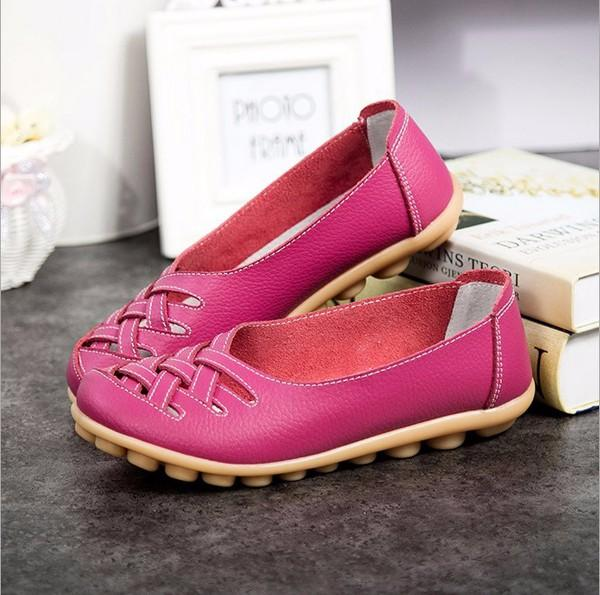 Large Size Colorful Slip On Hollow Out Round Toe Flat Loafers - EY Shopping