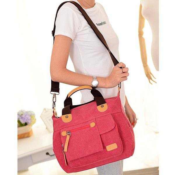 Women Canvas Casual Large Capacity Functional Multi Pocket Handbag Shoulder Bag Crossbody Bag - EY Shopping