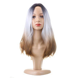 "hair 26"" 270g Long Synthetic Hair Wig Adjustable Ombre Grey Body Wavy Hair Wigs For Women Cosplay Heat Resistant 1PC"