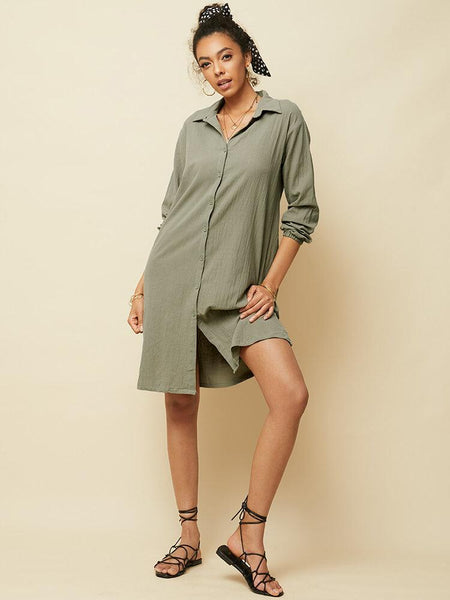 Women Long Sleeve V-neck Button Pocket Dress - EY Shopping