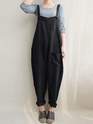 Women Solid Color Cotton Strappy Pocket Loose Harem Jumpsuit