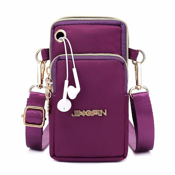 Women Nylon Mini Phone Bag Portable Leisure Waterproof Crossbody Bag Arm Bag