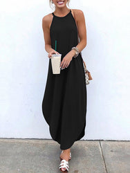 Women Sleeveless Straps High Low Hem Solid Causal Maxi Dress