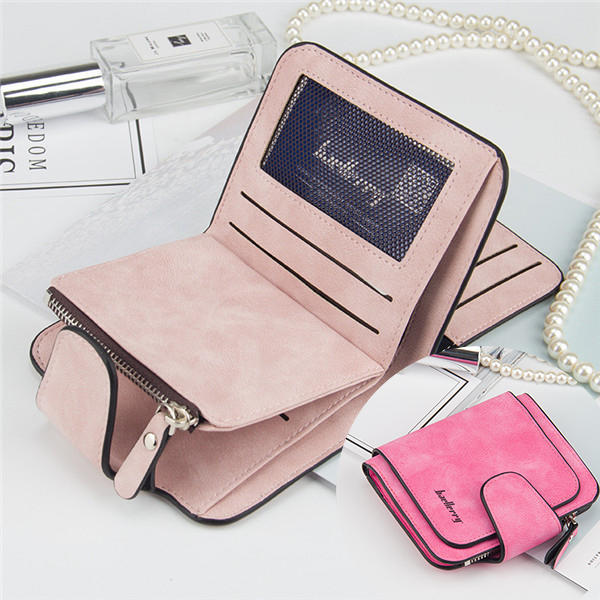 Women Trifold Faux Leather Short Wallet 8 Card Slot Coin Purse