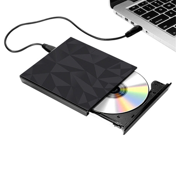 Portable USB 3.0 Black Tray Type External DVD-RW Max.24X High-speed Data Transmission for Win XP Win 7 Win 8 Win 10 Mac