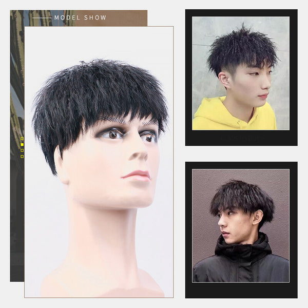 Handsome Men Human Hair Wig Lightweight Breathable Washable Without Trace Short Curly Wig