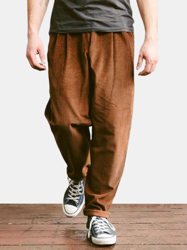 Mens Cord Corduroy Trousers Smart Casual Loose Trousers Formal Straight Pants - EY Shopping