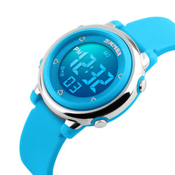 SKMEI 1100 Fashion Sport Children Watch Date Week Display 7-Colors EL Light 5ATM Waterproof Kids Digital Watch