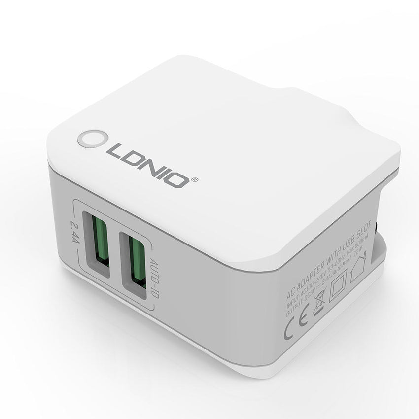 LDNIO 2.4A Fast Charging Type-C Dual USB Port European Regulations Travel Home Wall Charger Detachable Plug For iPhone X XS HUAWEI P30 XIaomi Mi9 S10 S10+