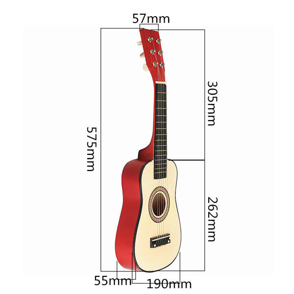 "Red 23"" Beginners Practice Acoustic Guitar w/ 6 String For Children Kids"