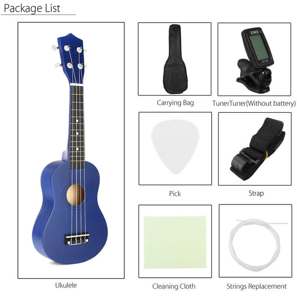 21 Inch Economic Soprano Ukulele Uke Musical Instrument With Gig bag Strings Tuner Blue
