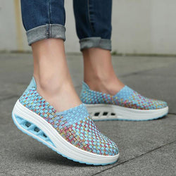 Colorful Rocker Sole Shoes Handmade Knit Shake Shoes Casual Slip On Sneakers - EY Shopping