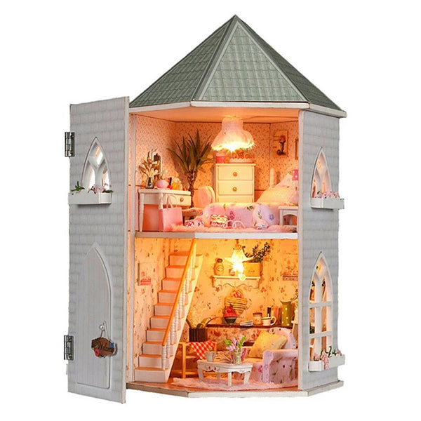 Hoomeda 13816 Kits Love Castle DIY Wood Dollhouse Miniature With Light And Furniture Toy Gift
