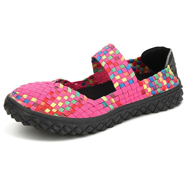 Women Summer Breathable Sandals Knit Platform Elastic Shoes - EY Shopping