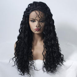 Black Small Roll Half Hand Hook Front Lace Wig