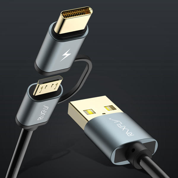 RAXFLY 2.8A 2 in 1 Type C Micro USB With QC3.0 2.0 Fast Charging Data Cable For Oneplus 5t Xiaomi 6