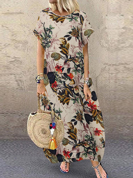 Women Cotton Crew Neck Loose Baggy Print Maxi Dress - EY Shopping
