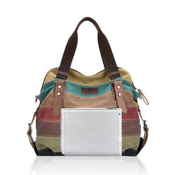 Women Casual Stripe Canvas Handbag  Micro-Fibric Leather Shoulder Bags Contrast Color Crossbody Bags - EY Shopping