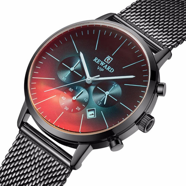 Reward RD82004M Fashion Men Watch Light Luxury Waterproof Chronograph Stainless Steel Quartz Watch