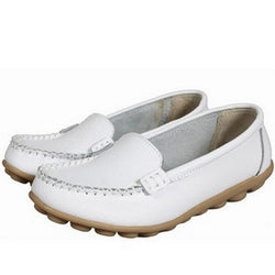 Women Leather Slip-on Anti Skid Ballet Flats Casual Shoes - EY Shopping
