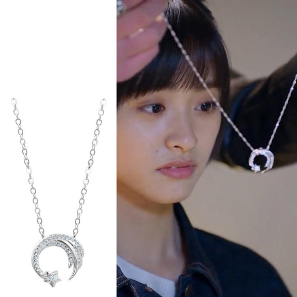 Meteor Garden Same Paragraph Silver Moon Star Necklace Jewelry Birthday Gift