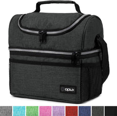 DOUBLE DECK LUNCH COOLER BAG Insulated Dual Compartment Lunch Bag for Men, Women | Double Deck Reusable Lunch Box Cooler with Shoulder Strap, Leakproof Liner | Medium Lunch Pail for School, Work, Office (Black) USA Imported Product - EY Shopping