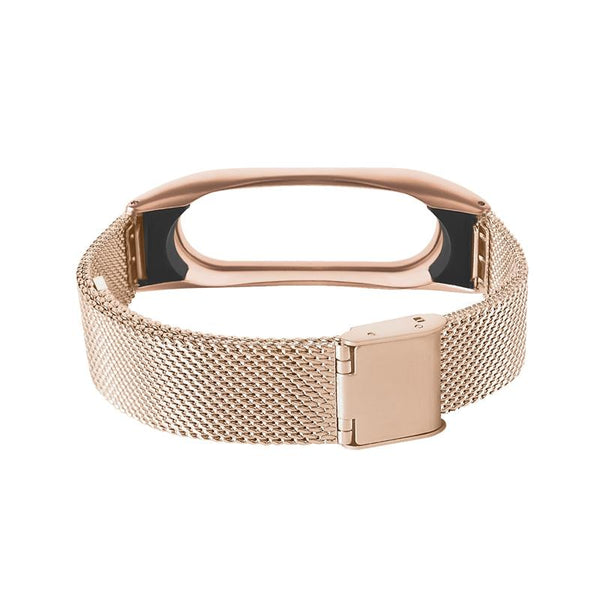 DEFFRUN Stainless Steel Fold Buckle Black Sliver Rose Gold Wrist Strap for XIAOMI Miband 2