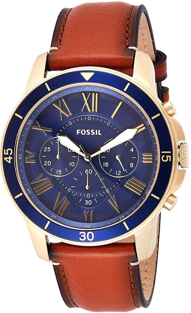 USA Imported Product, Fossil Men's Grant Sport Stainless Steel and Leather Chronograph Quartz Watch, Quartz movement with luminous 3-hand analog