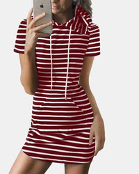 Striped Drawstring Short Sleeve Casual Shirt Pocket Dress - EY Shopping