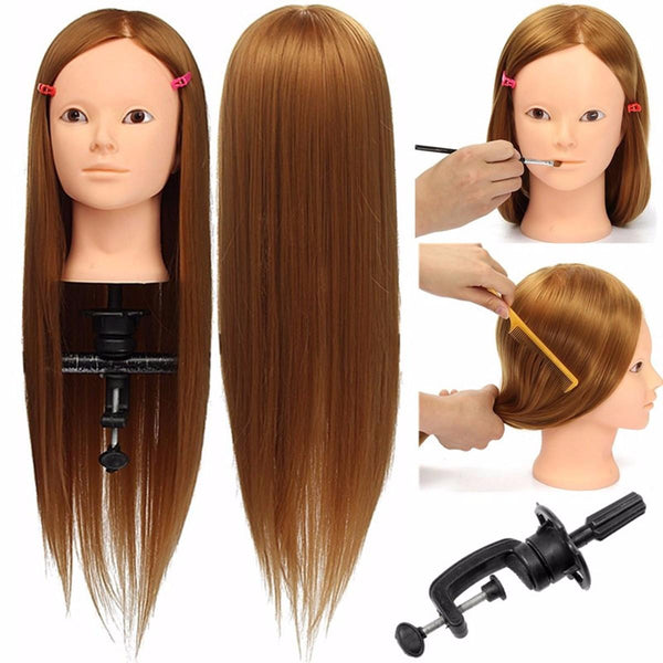 24'' Hairdressing Human Hair Practice Makeup Training Mannequin Head with Clamp