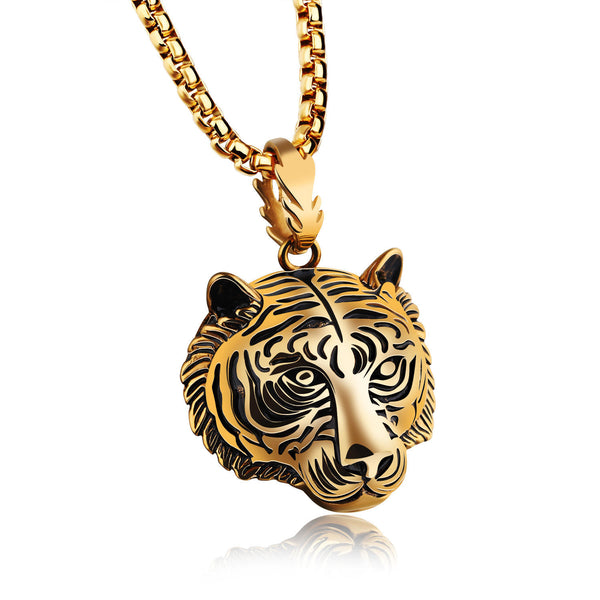 Men's Punk Gold Black Tiger Stainless Steel Long Necklace Hip-hop Accessory