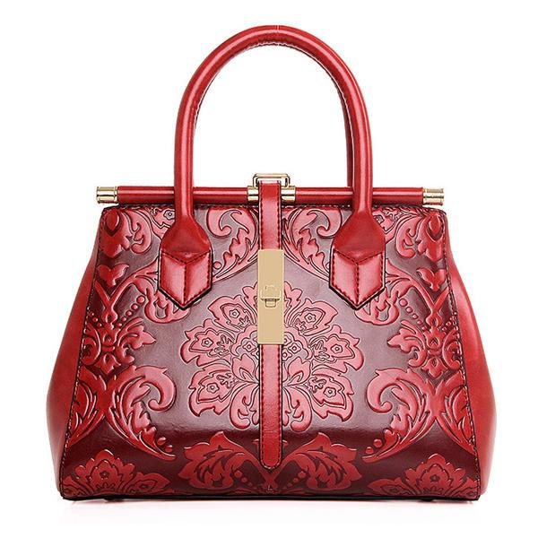Women High Quality PU Leather Retro Embroidery Handbag Tote Bag Shoulder Bag - EY Shopping