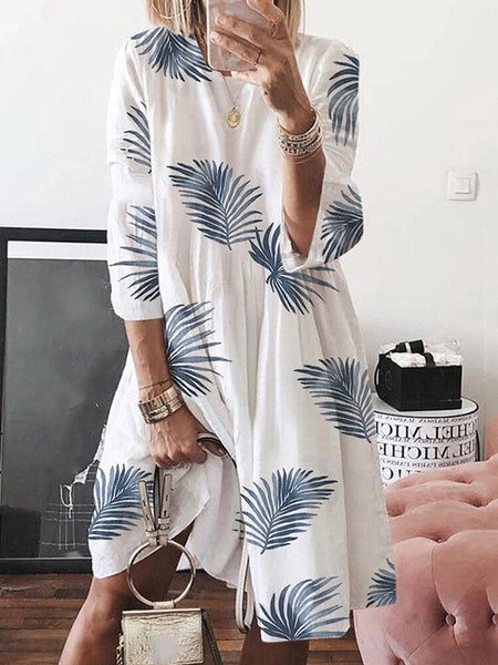 Women Floral Plant Print Long Sleeve Beach Holiday Loose Dress - EY Shopping