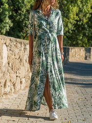 Tropical Plant Print Button Long Sleeve Shirt Dress - EY Shopping