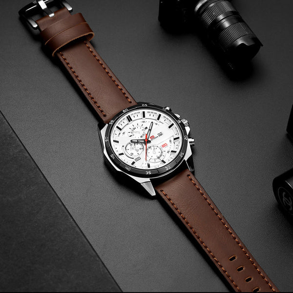 VA VA VOOM VA-216 Fashion Men Watch 3ATM Waterproof Date Display Leather Strap Quartz Watch
