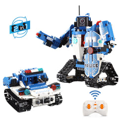 DOUBLE E CaDA C51048W DIY 2.4G 2 In 1 Block Building Flexible Joint RC Tank Truck Robot Assembled Toy